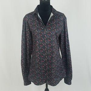 Asos L long sleeve button front floral blouse